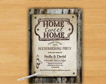 Chalkboard housewarming invitation weve moved invite we housewarming invitation new house home sweet home invitation card wood design we have moved invitation stopboris
