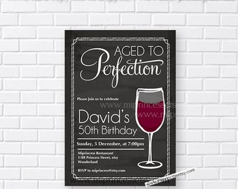 wine invitation, Wine birthday invitation, Aged to Perfection,  Invitation cheers for any age gathering Party invitation Design - card 196