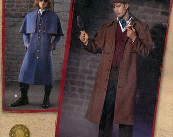 Simplicity 2517 Sewing Pattern for Men's Sherlock Holmes Coat and Hat Costume - Uncut - Size 38, 40, 42, 44