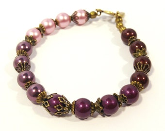 Pearl Maroon, Burgundy, Pink Ombre Bracelet, Genuine Swarovski Crystal Pearls in Four Colors With Antique Gold Plated Accents