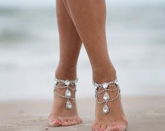 Rhinestone Anklet,Bridal Swarovski Crystal Barefoot Sandals,Boho Slave Anklet,Foot jewelry,Ankle Bracelet,Destination Wedding,AFIA design