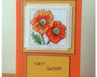 Marigold Flower Birthday Card in Cross Stitch (7247)