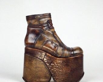 90's El Dantes Mega Platform Brown Patchwork Leather Wedge Ankle Boots // 7.5