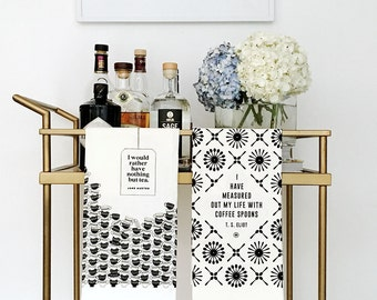 SPECIAL! Literary Tea Towel Set, T. S. Eliot + Jane Austen, Cotton Kitchen Towels, Hostess Gift for Her, Black and White Kitchen Decor, Bar