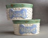 "Dog Bowl Set Ready To Ship 5"" White Spiky Dog Bowls by Symmetrical Pottery"