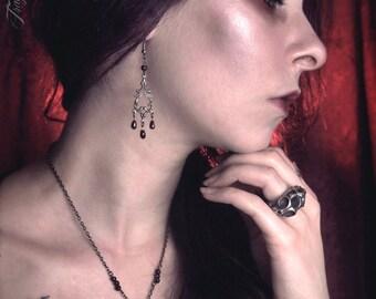 Lady Vampira Silver Garnet Earrings