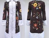 Vintage 1990s Coat / 90s Vivienne Tam Boho Embroidered Corduroy Fleece Coat / Small