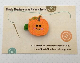 Cute Smiling Pumpkin Hair Clip- Halloween Hair Clip- Felt Hair Clips