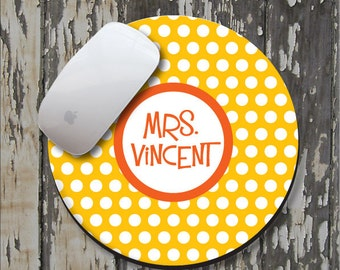 POLKA DOT Personalized Mouse Pad, Personalized Mousepad, Monogrammed Mouse Pad, Monogrammed Mousepad, Custom Mouse Pad, Custom Mousepad