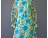 Vintage 60s Party Dress - Mod Mini Dress - Blue Green Floral Dress - Sheer Sleeve High Collar Formal Dress - Bohemian 1960s Evening Dress
