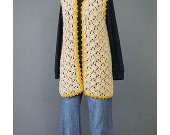 SALE - Crochet Vest - Hippie Vest - 70s Vest - Pointelle Knit Vest - Gold Beige Sweater Vest - Bohemian Vest - Long Vest - 1970s Boho Vest