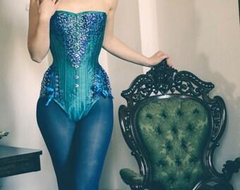 Quetzal Crystaled Corset Body / Steel Boned Silk Luxury Wear