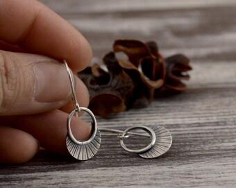 Minimalist sterling silver earrings -  small hoop earrings -  geometric earrings -  southwest earrings