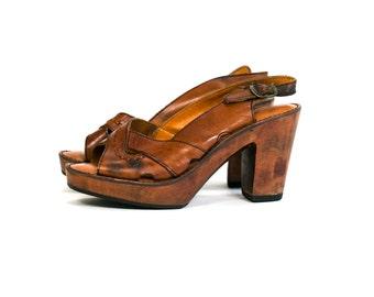 Vintage 1970's Wool and Leather Platform Sandals Women's Size 7 B Clogs/Sling Backs Retro/Boho/Hippie