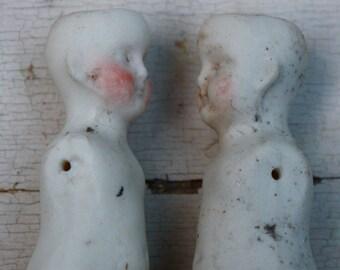 "2 Porcelain Dolls Broken Dirty Antique Painted 3.25"""
