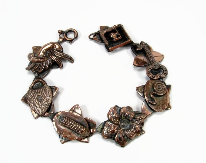 Vintage Copper Bracelet Made In Germany Heart Padlock and Key