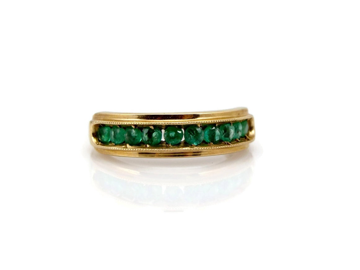 emerald gold ring channel set 14k yellow gold by vintagegemz