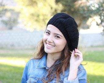 Women fashion hat, Hand Knitted Hat, Women black beret, Slouch hat beret, Winter black hat, Handmade beret, Trend knit hat