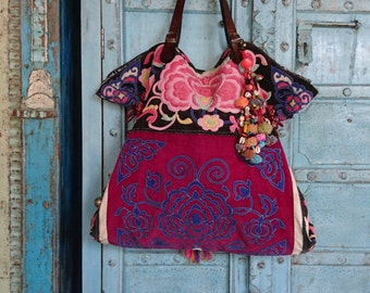 Large Vintage Hmong tote bag ethnic handmade Tribal embroidery geuine leather strap