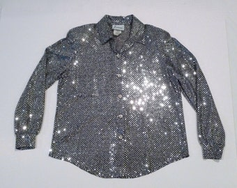 Silver Metallic Shirt Vintage Shimmering Sequin Look Finish Loose Top Luxe Mirror Look Blouse 1980's Rave Festive Holiday Disco