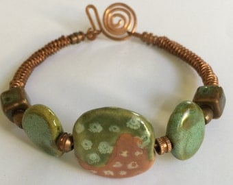 Kazuri Bead and Copper  Bracelet