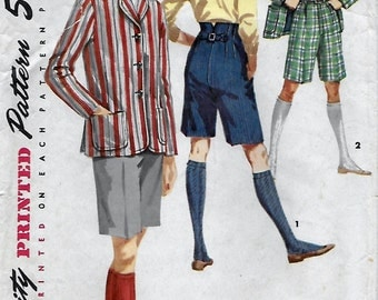 Simplicity 1695 Women's 50s Bermuda Shorts and Blazer Jacket Sewing Pattern Size 18 Bust 38