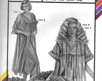 Stretch & Sew 2095 Misses' 80s Lacy Gown and Robe Sewing Pattern Bust 30 to 42