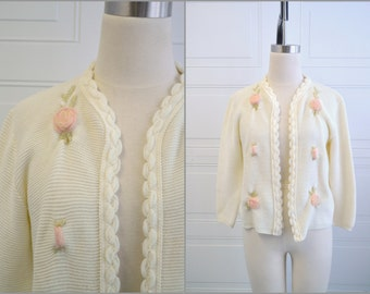 1960s Rose Accent Cardigan Sweater
