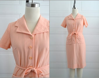 1970s Peach Knit Shirt Dress