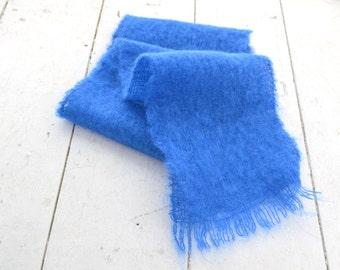 1970s Blue Mohair Scarf