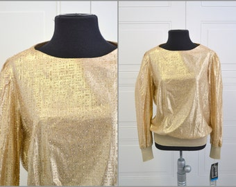 1980s Gold Glittery Top