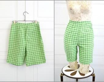 1960s Green Plaid Bermuda Shorts