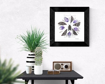 Giclée Art Print - Amethyst  and Moth Wing Mandala - Watercolor Crystals - Moth Wings-  Mixed Media - By Rachael Caringella  Tree Talker Art