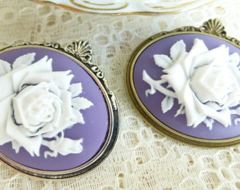 White on Purple/Periwinkle Wild Rose Cameo Brooch pin in Antique Silver Or Antique Bronze