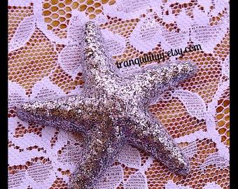 """Glitter Starfish Hair Clip ,Sliver Glitter Starfish Lg 3""""  , Resin Natuical Beach Starfish Handmade By: Tranquilityy"""
