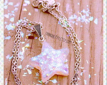 Cellophane Star Necklace, Cellophane Iridescent Glitter Resin Star Necklace, Free Ring, Handmade By: Tranquilityy