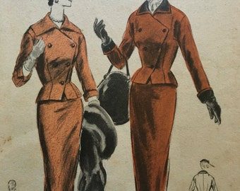 Rare 1950s Vogue 8432 suit with slim skirt, 32 bust