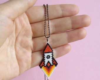 Rocket ship necklace.Retro rocket Pendant.Ground Control to Major Tom.Geekery.Pixel art.Space ship.2001:A Space Odyssey.Alien, Space Jewelry