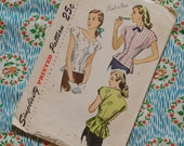 Vintage 1940s Sewing Pattern / Stylish Fitted Blouse with Peplum / Size 14 - 32 Bust / Simplicity 2027
