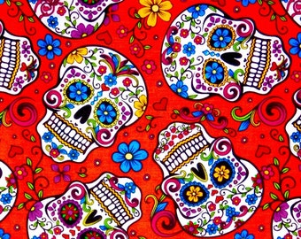 Sugar skulls fabric, Calaveras, Skulls, Day of the Dead, Latin culture, 100% cotton fabric for Quilting crafting and all sewing projects.