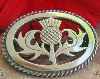 Ortak Malcolm Gray Scottish Thistle Sterling Silver Pin Brooch Fully Hallmarked Edinburgh 1982