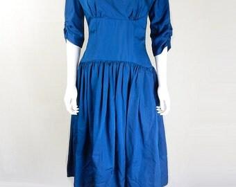 Original Vintage 1950s Teal Drop Waist Prom Dress UK Size 8