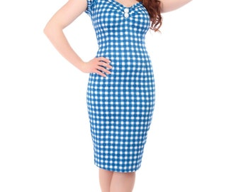 Brand New Retro 50s Inspired Dolores Blue Gingham Wiggle/Pencil Dress Pin Up Rockabilly