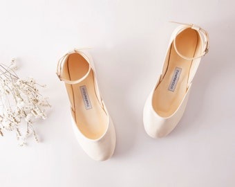 Bridal Ballet Flats | Minimalist Wedding Shoes | Ballerina Style Pointe Shoes | Vanilla Ivory with Leather Ankle Straps...Ready to Ship