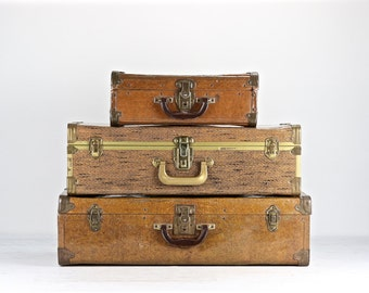 Vintage Suitcases, Suitcase, Suitcase Stack Of Three, Suitcase, Luggage, Old Luggage, Tweed Suitcase, Stack Of Suitcases, Striped Suitcase