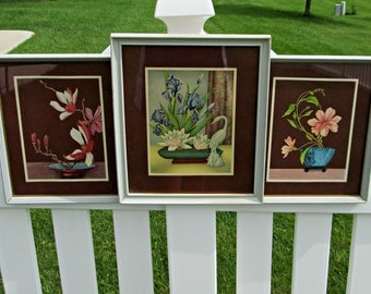 Trio of Framed Vintage GOES Prints Wall Hangings - Elegant MCM Floral Still Life Lithos - Perfect Floral Wall Hangings for Your Vintage Home