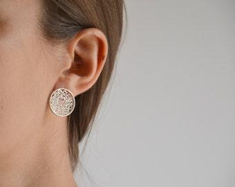 midsize post earrings, sterling silver crochet stud earrings