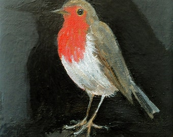 "Robin's shadow painting 7"" x 5"""