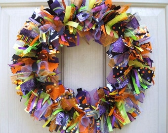 Halloween Wreath, Halloween Decoration, Ribbon Fabric Door Wreath, Halloween Decor, Fall Wreath, Halloween Party Decor