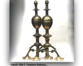 Antique Fireplace Andirons Very Heavy Spun Brass Paris Apartment Louis XIV Style French Chateau